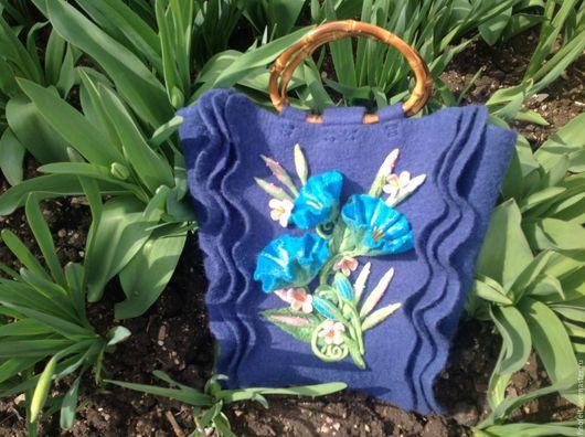 """Женские сумки ручной работы. Ярмарка Мастеров - ручная работа. Купить Авторская валяная сумка """"Синие рюши"""". Handmade."""