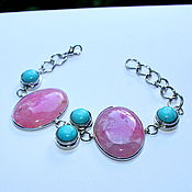 Украшения handmade. Livemaster - original item Bracelet natural pink agate and torquent. Handmade.