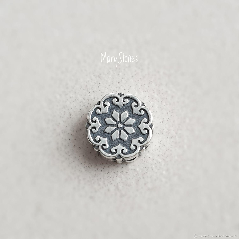 Необычная бусина из серебра 925 пробы с цветком мандалой, Бусины, Тольятти,  Фото №1