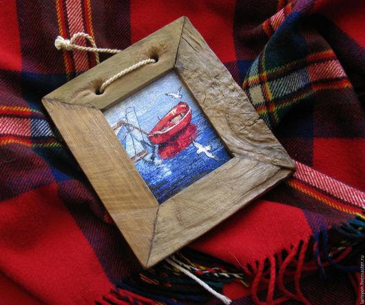 """Пейзаж ручной работы. Ярмарка Мастеров - ручная работа. Купить Вышивка """"Лодка.Чайки"""". Handmade. Разноцветный, красный, чайки"""
