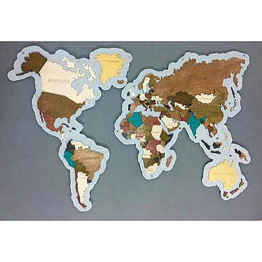 Для дома и интерьера ручной работы. Ярмарка Мастеров - ручная работа Элементы интерьера: Карта мира объемная 3D на подложке из дерева. Handmade.