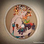 """Картины и панно ручной работы. Ярмарка Мастеров - ручная работа Картина круглая по мотивам А.Мухи """"Фрукты"""". Handmade."""