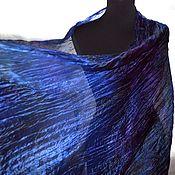 Аксессуары handmade. Livemaster - original item Scarf silk black blue purple long women`s scarf stole. Handmade.