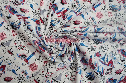 Шитье ручной работы. Ярмарка Мастеров - ручная работа. Купить Ткань плат. хлопок кораблики 1178, 150 см, белый. Handmade.