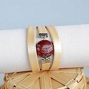 Украшения handmade. Livemaster - original item A leather bracelet In anticipation of autumn Jasper. Handmade.