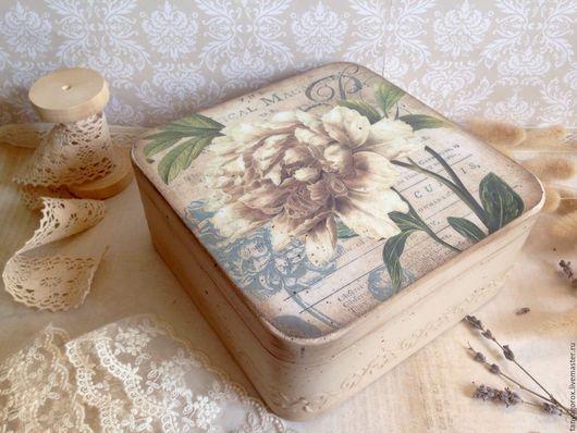 Шкатулки ручной работы. Ярмарка Мастеров - ручная работа. Купить Чайная роза- шкатулка для украшений. Handmade. Бежевый, шкатулка декупаж