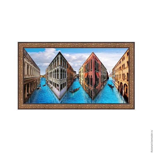 """Город ручной работы. Ярмарка Мастеров - ручная работа. Купить Живая картина """"Венеция"""" 51х30 см.. Handmade. Синий, иллюзия"""
