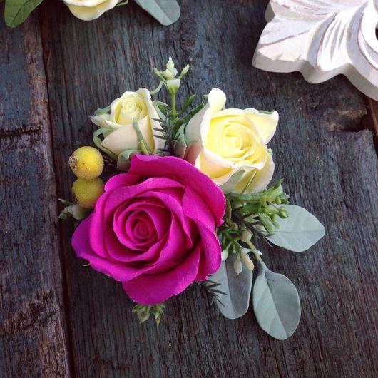 Заколки ручной работы. Ярмарка Мастеров - ручная работа. Купить Заколка зажим-брошь с розами из полимерной глины 11 см. Handmade.