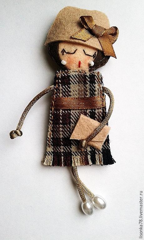 Броши ручной работы. Ярмарка Мастеров - ручная работа. Купить Брошь-куколка из фетра. Handmade. Разноцветный, брошь ручной работы