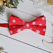 Аксессуары handmade. Livemaster - original item Red butterfly tie Snowflakes / Christmas tie necktie. Handmade.