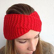 Аксессуары handmade. Livemaster - original item Knitted turban-scarf of bright red color. Handmade.