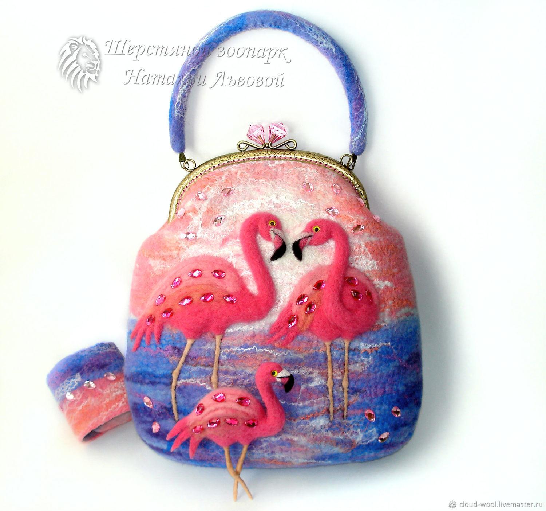 Bag-Flamingo / women's felted purse / bag from a wool / Flamingo, Classic Bag, Sochi,  Фото №1