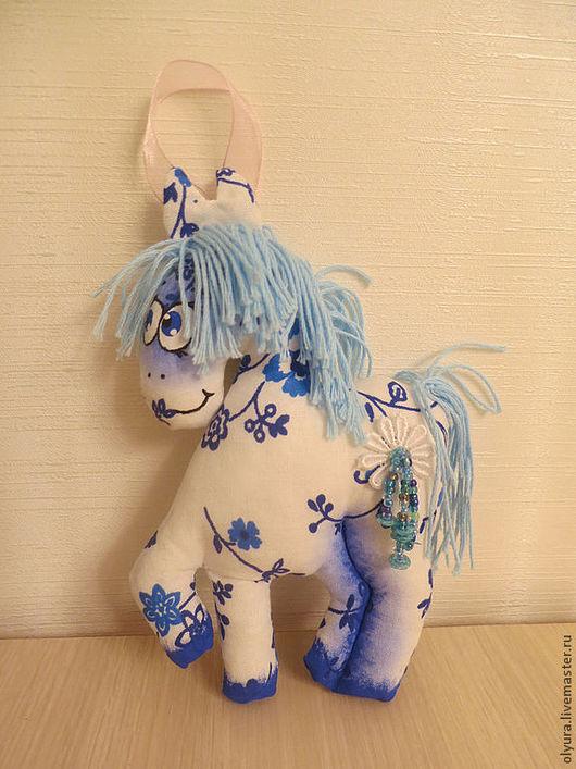 Куклы Тильды ручной работы. Ярмарка Мастеров - ручная работа. Купить Синяя лошадка. Handmade. Лошадка, белый, голубой, хлопок