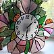 """Часы для дома ручной работы. Ярмарка Мастеров - ручная работа. Купить Витражные часы """"Сиреневые цветы с божьими коровками"""". Handmade."""