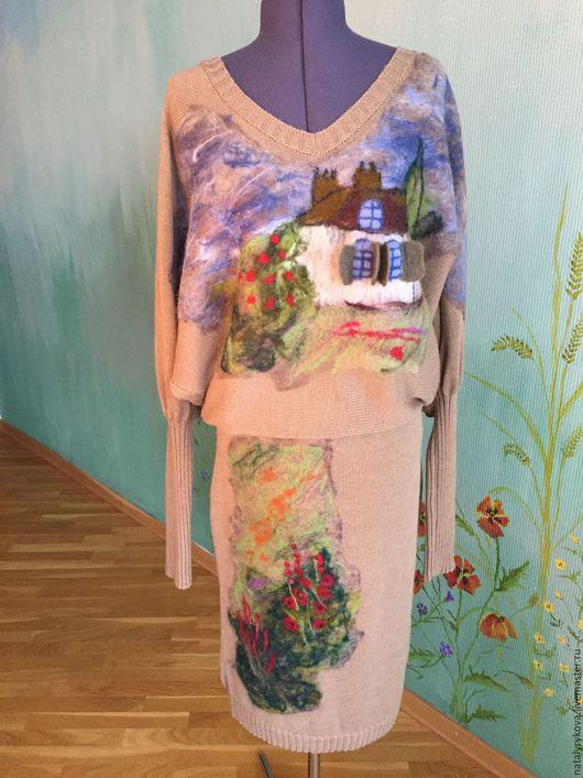 Платья ручной работы. Ярмарка Мастеров - ручная работа. Купить Счастливый домик Платье вязаное с валяным декором. Handmade. Платье