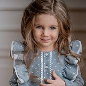 Платье ручной работы. Ярмарка Мастеров - ручная работа Платье для девочки Полли из теплого хлопка. Handmade.