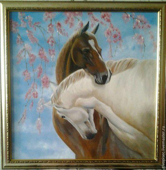Животные ручной работы. Ярмарка Мастеров - ручная работа. Купить Пара лошадей. Handmade. Голубой, картина, лошади, животные, пара