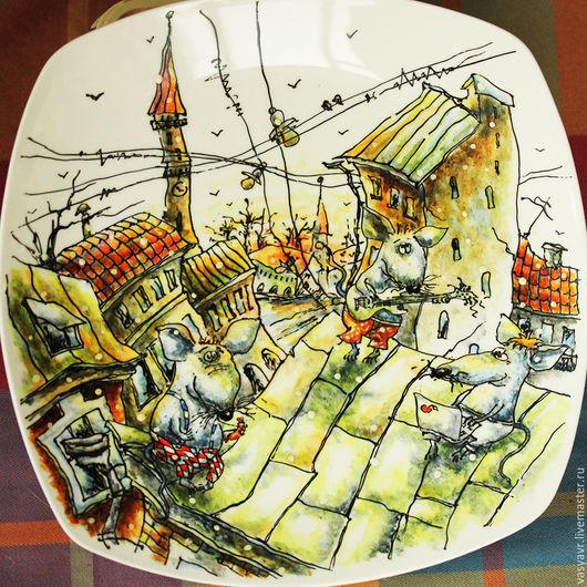 Тарелки ручной работы. Ярмарка Мастеров - ручная работа. Купить Мыши на крыше. Handmade. Разноцветный, мышь, мыши, мышка, мышонок
