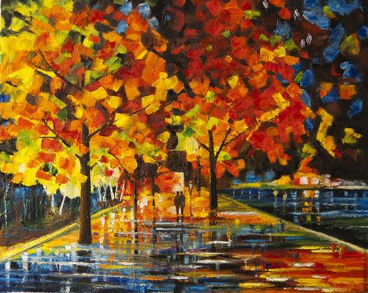 Пейзаж ручной работы. Ярмарка Мастеров - ручная работа. Купить Осенняя алея. Handmade. Комбинированный, пейзаж, деревья, мастихин, украина