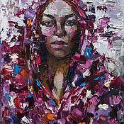"""Картины ручной работы. Ярмарка Мастеров - ручная работа """"Девушка в красном платке"""" портрет маслом. Handmade."""