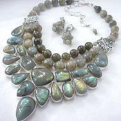 Украшения handmade. Livemaster - original item Necklace 3нити Earrings - LABRADORITE beads.. Handmade.