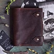 Канцелярские товары handmade. Livemaster - original item Leather notebook on the rings pockets hand-sewn seam A5. Handmade.