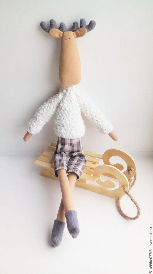 Игрушки животные, ручной работы. Ярмарка Мастеров - ручная работа. Купить лосик Яша. Handmade. Белый, текстильный лосик, холлафайбер