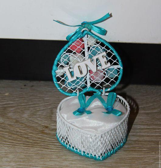Свадебные аксессуары ручной работы. Ярмарка Мастеров - ручная работа. Купить шкатулка для колец. Handmade. Бирюзовый, свадьба, шкатулка для колец