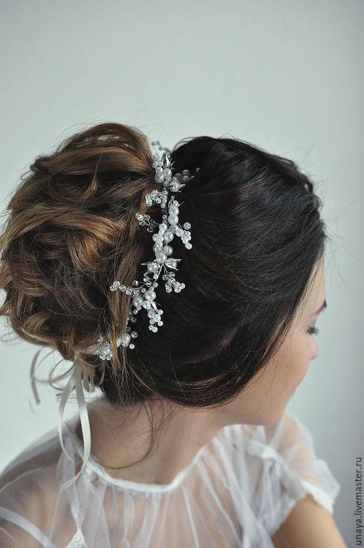 Свадебные украшения ручной работы. Ярмарка Мастеров - ручная работа. Купить ободок с цветами. Handmade. Белый, ободок для невесты