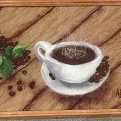 Картины и панно ручной работы. Ярмарка Мастеров - ручная работа Чашка кофею. Handmade.