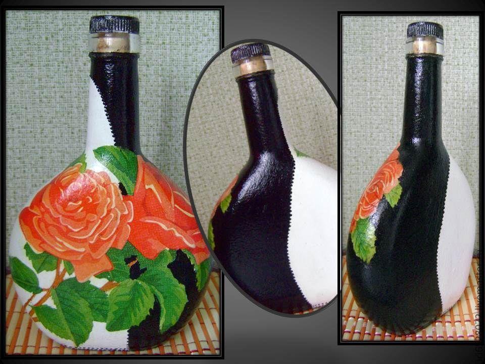 Декор бутылок своими руками салфетками