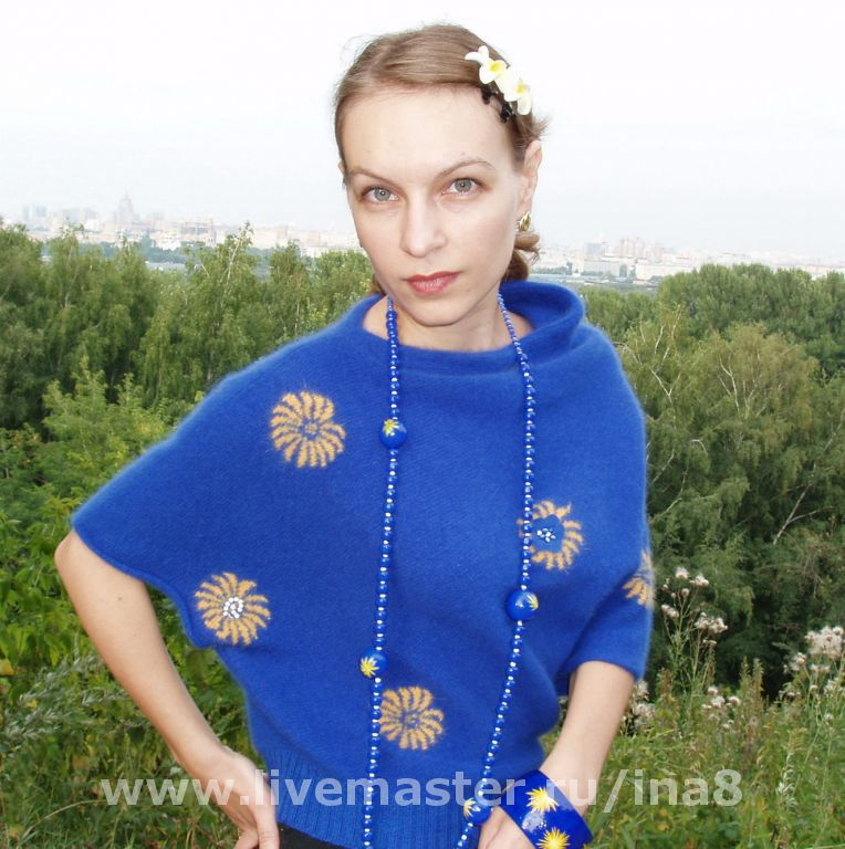 Sweater Jackets & Sweaters handmade. Livemaster - handmade. Buy Knitted blouse from Angora 'Blue Paradise'.Blue, fluffy