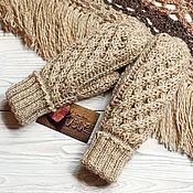 Аксессуары handmade. Livemaster - original item Knitted women`s mittens with a relief pattern. Handmade.