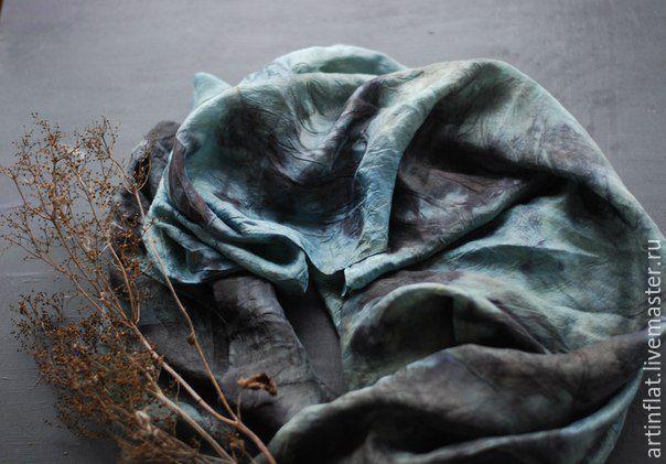 Scarf 'North sea' 100 % silk, ekoprint /Indigo, Scarves, Moscow,  Фото №1