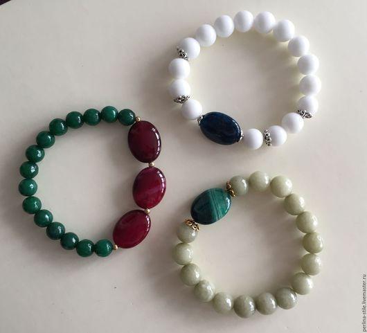Браслеты ручной работы. Ярмарка Мастеров - ручная работа. Купить Ассортимент браслетов из агата. Handmade. Комбинированный, зеленый агат, агат