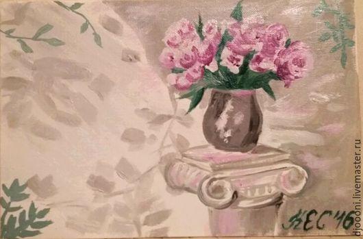 Картины цветов ручной работы. Ярмарка Мастеров - ручная работа. Купить Чайные розы в вазе. Handmade. Розовый, ваза, тень