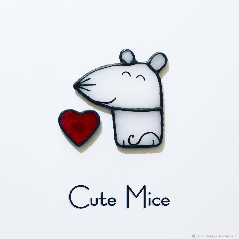 Подарок для любимой мальчик мышонок (магнит из стекла) Cute Mice  #013, Магниты, Новосибирск,  Фото №1
