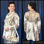 Одежда ручной работы. Ярмарка Мастеров - ручная работа Платье белое с кашемиром с сумкой (как вариант). Handmade.