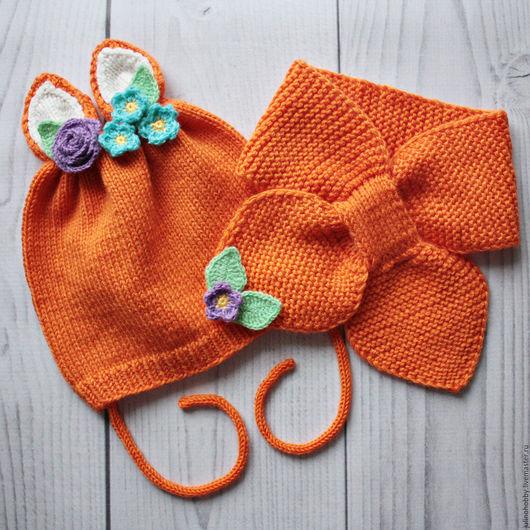 """Шапки и шарфы ручной работы. Ярмарка Мастеров - ручная работа. Купить Шапочка и шарфик """"Лисичка"""" из мериноса. Handmade. Оранжевый"""