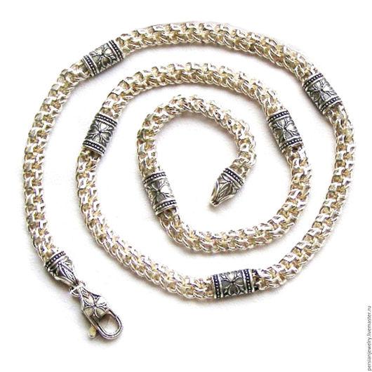 Украшения для мужчин, ручной работы. Ярмарка Мастеров - ручная работа. Купить Серебряная цепь арабский  БИСМАРК со вставками. Handmade.