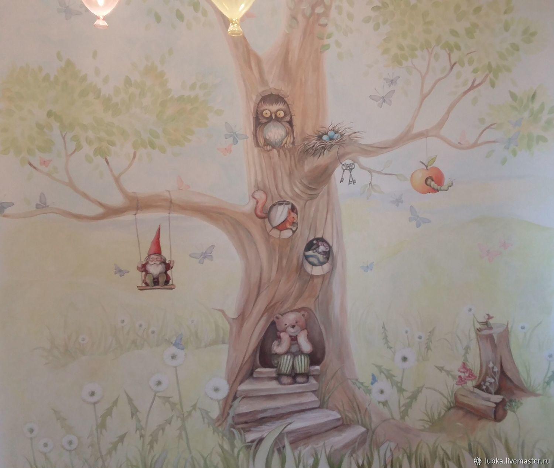 Декор поверхностей ручной работы. Ярмарка Мастеров - ручная работа. Купить Волшебное дерево в детской. Handmade. Комбинированный