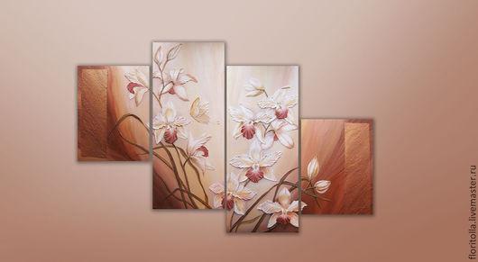 """Картины цветов ручной работы. Ярмарка Мастеров - ручная работа. Купить """"Орхидеи"""" объемная фреска. Handmade. Бежевый, акриловые краски"""