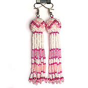 Украшения handmade. Livemaster - original item Earrings-tassels made of beads rose or