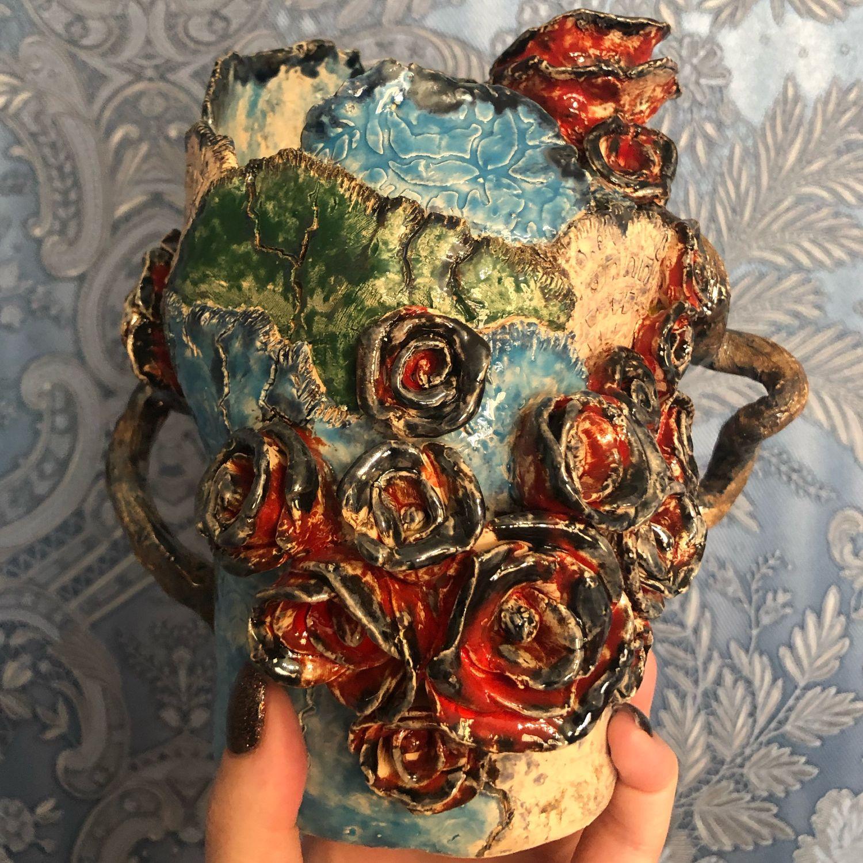 Керамическая ваза Пэчворк, Вазы, Краснодар,  Фото №1