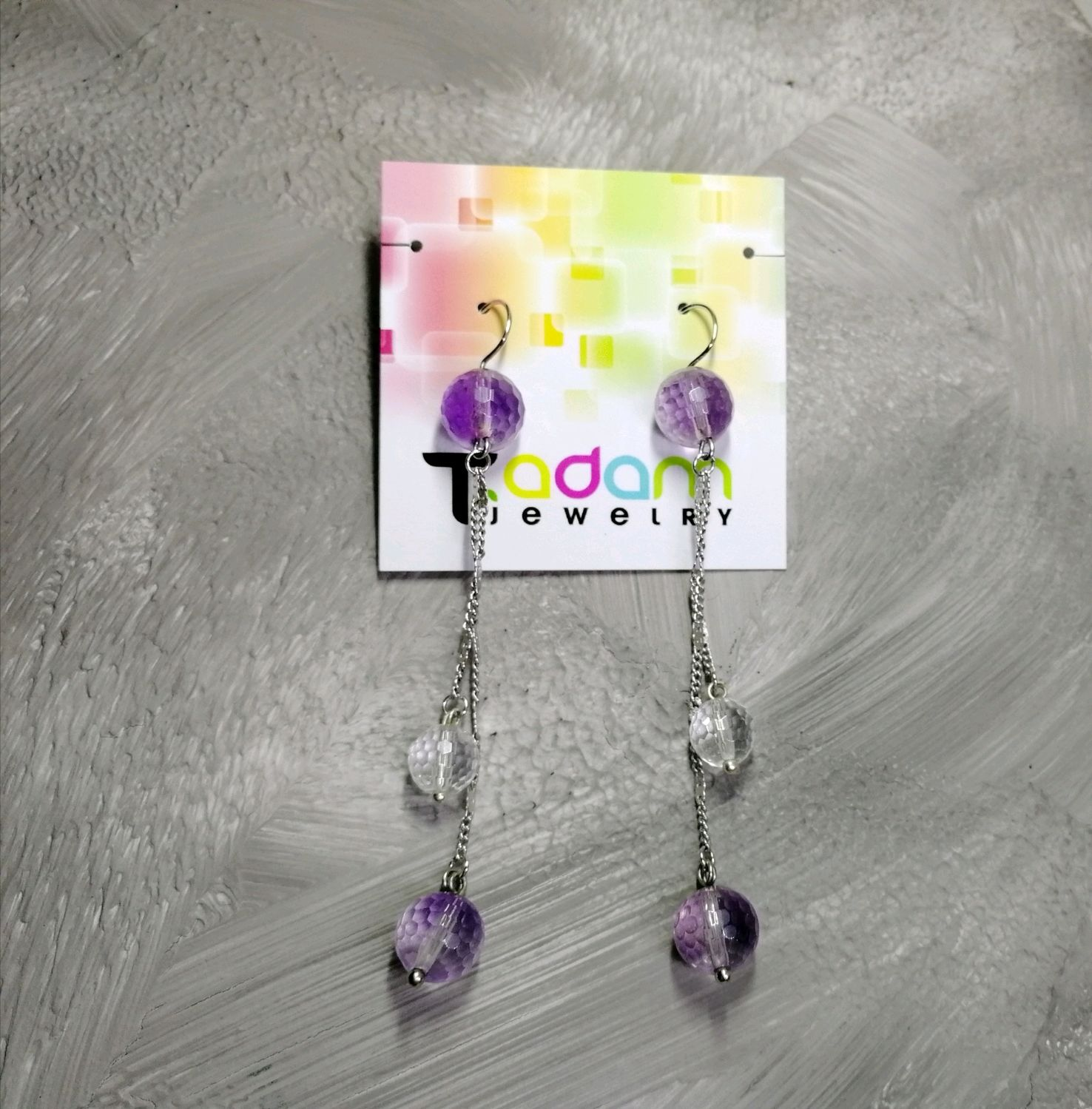 Earrings with amethyst and natural quartz Tenderness, Earrings, Moscow,  Фото №1
