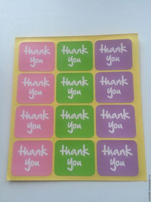 """Упаковка ручной работы. Ярмарка Мастеров - ручная работа. Купить 12 шт. 3 цвета наклейки (стикер) """"Thank you"""". Handmade."""