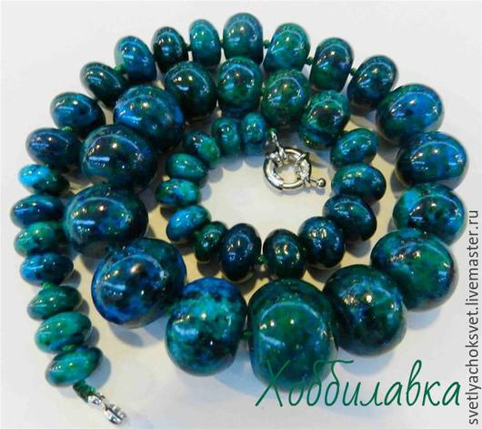 Азурит с хризоколлой гладкий рондель разной величины Яркий,насыщенный цвет! Высокое качество!  размер камня от 10 до 20 мм