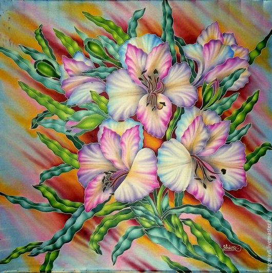 """Шали, палантины ручной работы. Ярмарка Мастеров - ручная работа. Купить Платок -батик """"Три орхидеи"""". Handmade. Батик, акссесуар"""