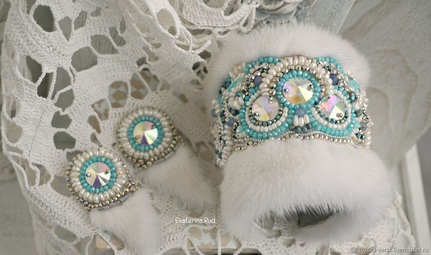 Mink white embroidered bracelet and earrings ' Royal', Jewelry Sets, Moscow,  Фото №1
