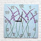 Для дома и интерьера handmade. Livemaster - original item Large clock on canvas Lavender. Handmade.